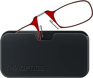 ThinOptics Reading Glasses + Black Universal Pod Case | Red Frame, 1.50 Strength Readers