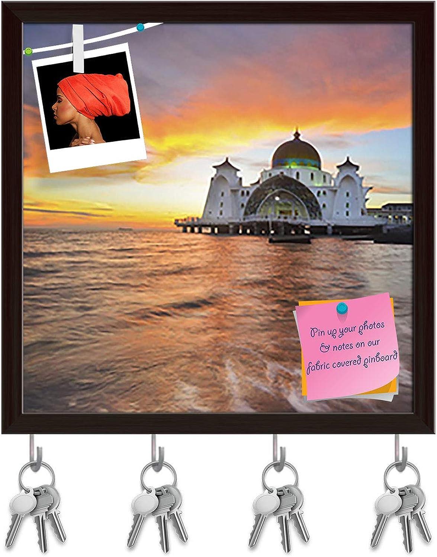 Artzfolio Floating Public Mosque D4 Key Holder Hooks   Notice Pin Board   Dark Brown Frame 20 X 20Inch