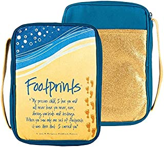 Footprints in The Sand Blue Print Cotton Bible Cover, Large