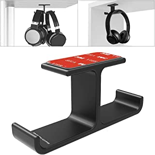 Headphone Headset Holder, APPHOME Headphones Stand Hanger Hook Aluminum Stick-On 3M Adhesive Under Desk Dual Headsets Holder Mount Gaming Accessories for All Headphones, Black (Patented)