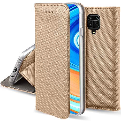 Moozy Funda para Xiaomi Redmi Note 9S y Xiaomi Redmi Note 9 Pro, Oro - Flip Cover Smart Magnética con Soporte y Cartera para Tarjetas