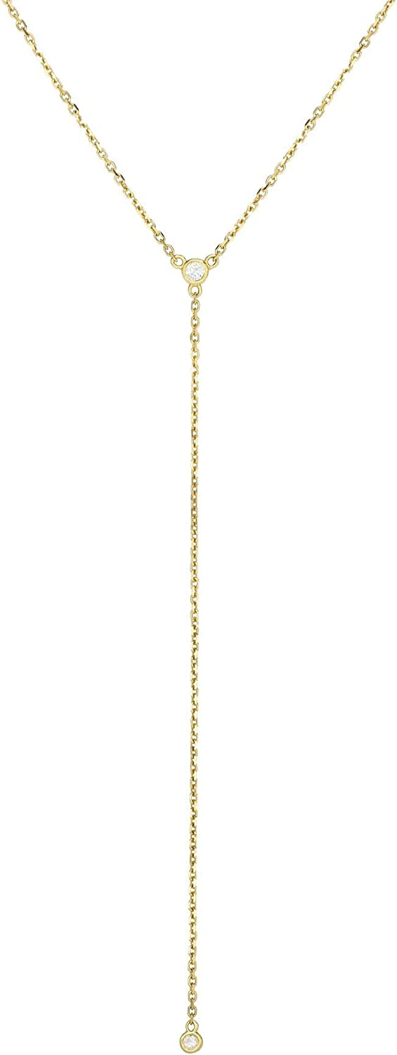 14K Yellow Gold Diamond Cut Lariat Necklace, 20 in.