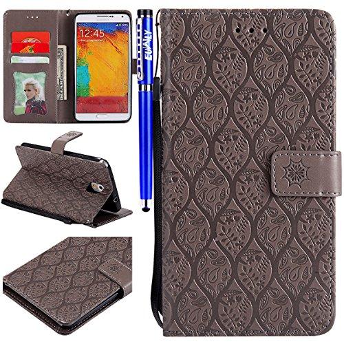 EUWLY Compatible avec Galaxy Note 3 Coque Housse de Protection Etui en Cuir Coque à Rabat Magnétique Housse de Protection avec Motif Flip Wallet Case avec Porte-Cartes,Gris