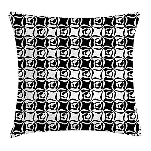 Mesllings zwart en wit kussen kussensloop, monochrome ruitjes en cirkels patroon siergebogen Illustratie, decoratieve vierkante Accent kussensloop, 18 X 18 inch, zwart wit 2019