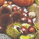 20 Servietten Maroni - Kastanien/Herbst/Früchte 33x33cm