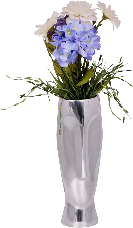 FineBuy Deko Vase Vase Vase groß Trophy Aluminium modern mit 1 Öffnung in Silber   Hohe Alu Blaumenvase handgefertigt   Große Dekovase für Blaumen B01MREHQ9F c49e3f