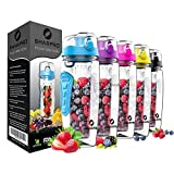 sharpro 32 OZ Sport Fruit Infuser Water Bottle, Flip Top Lid & Dual Anti-Slip Grips, BPA Free Infuser Water Bottle, Gifts, Ideal for Your Office, Home, car and Gifts