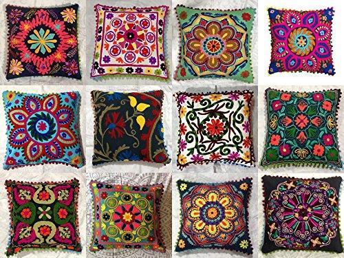 GANESHAM Indischer Designer Home Decor Floral Baumwolle Kissenbezug Bohemian Throw Pillow Cover Hand Embroidered Suzani Kissenbezug Couch Kissen (10)