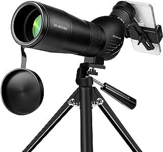 Spotting Scope, Huicocy 20-60x60mm Zoom 39-19m/1000m with FMC Lens, BAK4 45 Degree Angled Eyepiece, Fogproof Spotting Scop...