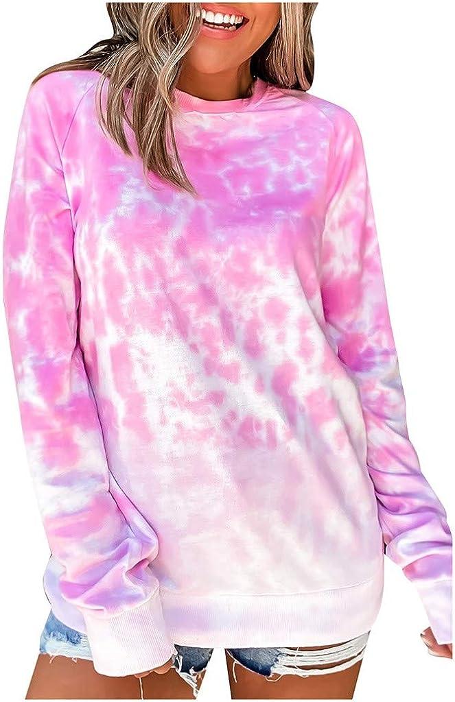 SSYUNO-women tops Womens Store Fashion Long Sleeve 5 ☆ popular Dye Tie Sweatshirt