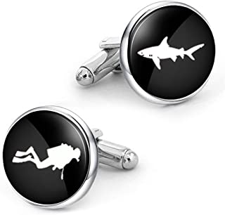 Kooer Scuba Diver Cufflinks Sharks Cuff Links Custom Personalized Wedding Cuff Links Jewelry Gift