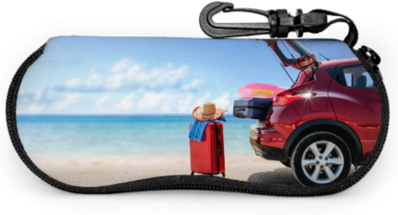 Red Summer Car On Beach Outdoor Glasses Case Woman Eyeglass Case Light Portable Neoprene Zipper Soft Case Slim Glasses Case