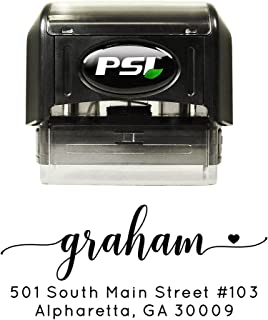 Script with Heart Return Address Stamp, Self Inking, Wedding Stamp, Personalized, Black Ink