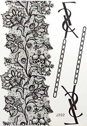 Flash temporary Henna lace body art tattoo sticker decal transfer bindi black white wedding bridal jewelry over 80 designs to choose (HLB047)