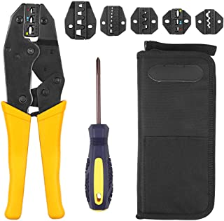 LUVODI Crimping Tool Kit Wire Terminals Ratchet Crimper Stripper Connectors Plier 5 Interchangeable Die Sets for Non-insulated and Insulated Cable Wire with Oxford Storage Bag