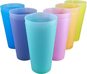 WEXINHAO 32-ounce Plastic Tumblers set, BPA-free Reusable Large Drinking Cups, Dishwasher Safe 6 Assorted Colors Kids Cups set of 12 Indoor Outdoor Use