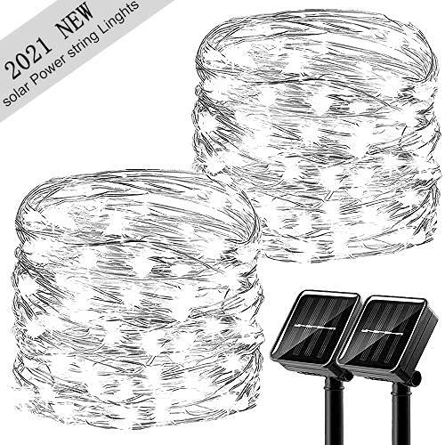 Upgraded Solar String Lights, 2 Pack 8 Modes 50 LED Solar Fairy Lights Waterproof 16ft Silver Wire Lights Outdoor Garden String Lights for Home Patio Yard Party Decoration (Cool White)