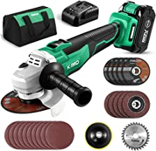 KIMO 20V Brushless Cordless Angle Grinder, 4-1/2 Inch, 9000RPM w/ 4.0Ah Lithium-Ion..