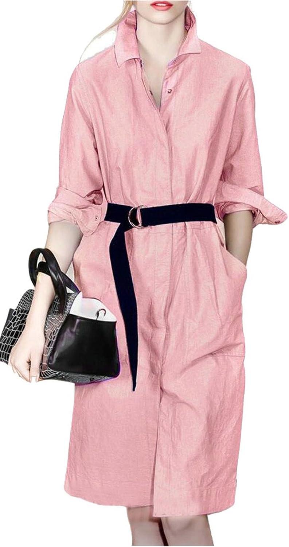 HTOOHTOOH Womens Casual Long Sleeve Denim Shirt Dress with Belt