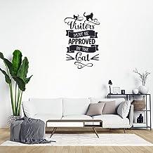 Vinilo decorativo para pared con cita de visitantes que deben ser aprobados por el gato