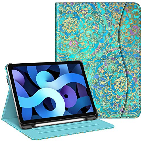FINTIE Case for iPad Air 4th Generation 10.9 Inch 2020 with Pencil Holder, Multi-Angle Viewing Folio Smart Stand Cover with Pocket, Auto Sleep/Wake, Shades of Blue
