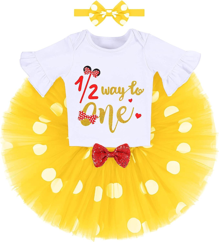 Baby Girls Cake Smash Half Birthday Clothes Polka Dots 1/2 Way to ONE Romper Tutu Skirt Mouse Ears Headband Princess Costume