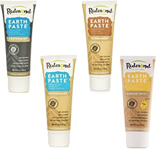 Redmond - Earthpaste All Natural Non-Fluoride Vegan Organic Non GMO Real Ingredients Toothpaste, 4 Pack (Peppermint Charcoal, Peppermint, Lemon, Cinnamon)