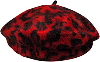 Sunflyfashion Women French Style Vintage Leopard Print Wool Soft Winter Warm Beret Beanie Hat