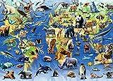 Jfsmgs para Adultos 1000 Piezas Rompecabezas para Piezas Rompecabezas de Mapa Mundial de distribución Animal Divertido Juego Familiar Rompecabezas educativos Juegos