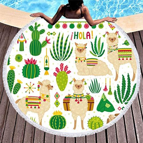 COEYU Strandhanddoek Cactus Groene Planten Gedrukt Grote Ronde Microvezel Strandhanddoek voor Volwassenen Kinderdekens met Kwastjes Zomer Bikini Cover Up Mats