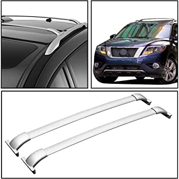 Amazon Com Replacement For Nissan Pathfinder R52 Pair Of Aluminum Oe Style Roof Rack Top Crossbars Silver Coated Automotive