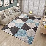 alfombras Baratas Grandes Alfombra Azul, Piso de patrón geométrico, cómoda Alfombra de cojín de Silla de Oficina Minimalista Antideslizante alfombras -Azul_Los 200x300cm