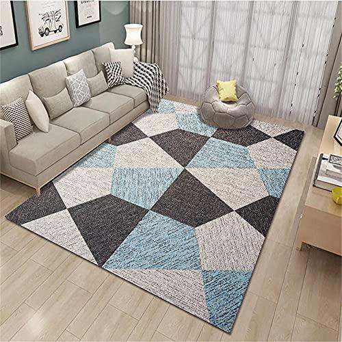 alfombras baño Alfombra Azul, Piso de patrón geométrico, cómoda Alfombra de cojín de Silla de Oficina Minimalista alfombras de Salon Modernas -Azul_El 180x280cm