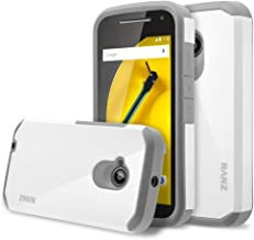 Moto E 2nd Gen Case, RANZ Grey with White Hard Impact Dual Layer Shockproof Bumper Case for Motorola Moto E 2nd Generation 3G/4G LTE (2015 Released)