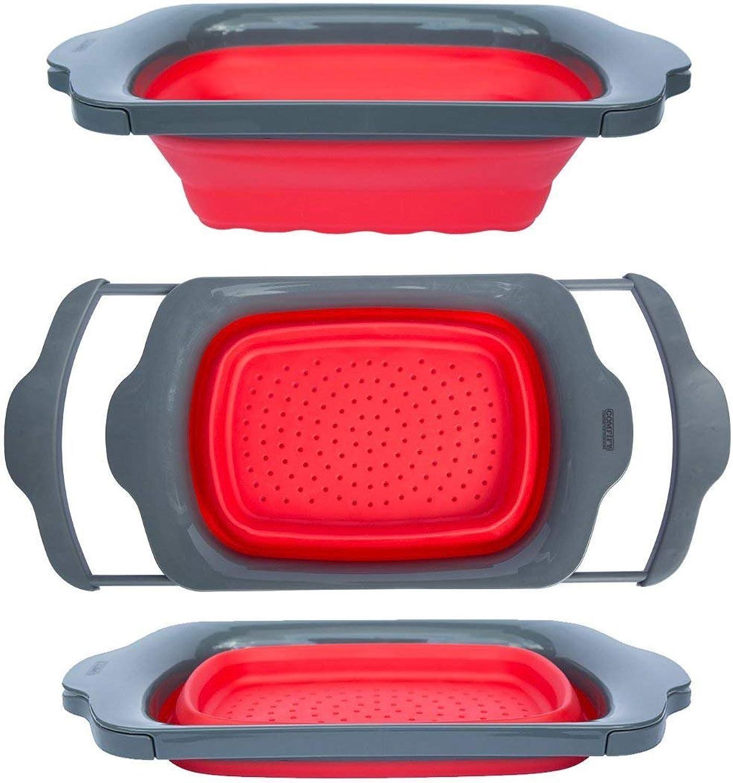 Sieb faltbar – grün & grau – – – über die Spüle Sieb mit Griffen – faltbarer Seiher für Küche 6-quart Kapazität – von comfify rot & grau B010A8G8BQ e6b6f9