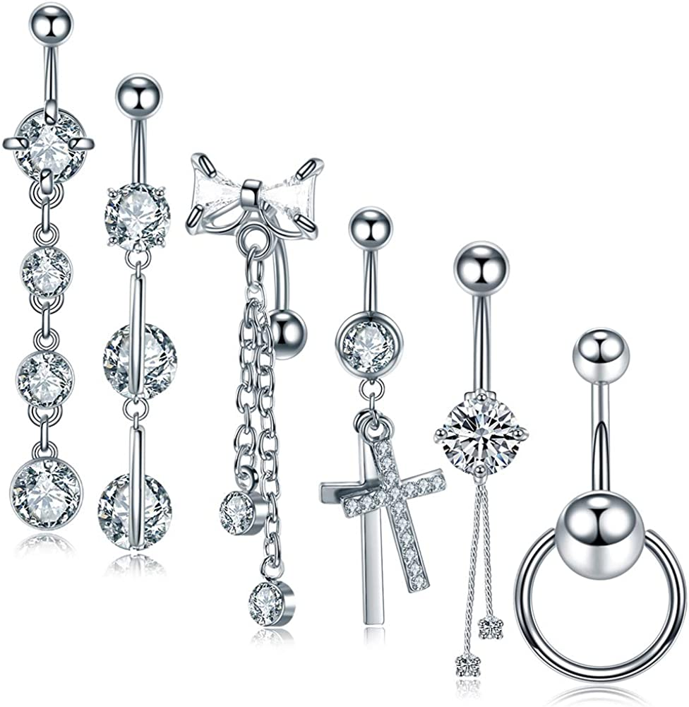 Jusway 6PCS Belly Button Rings Lots Stainless Steel 14G Navel Ring Belly Piercing Set Lobe Earring Navel Barbell Studs Body Jewelry Piercings