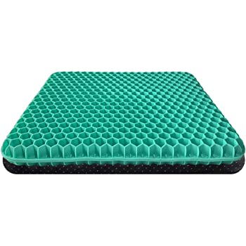 Gel Seat Cushion for Pressure Relief, Egg Sitting Gel Flex Cushion with Non-Slip Cover, Ventilation Breathable Honeycomb Egg Gel Cushion for Home Office Chairs Car Seat Wheelchairs (Green)