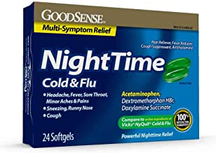 GoodSense Nighttime Cold & Flu Softgels, Relieves Aches and Pains Related to Cold & Flu