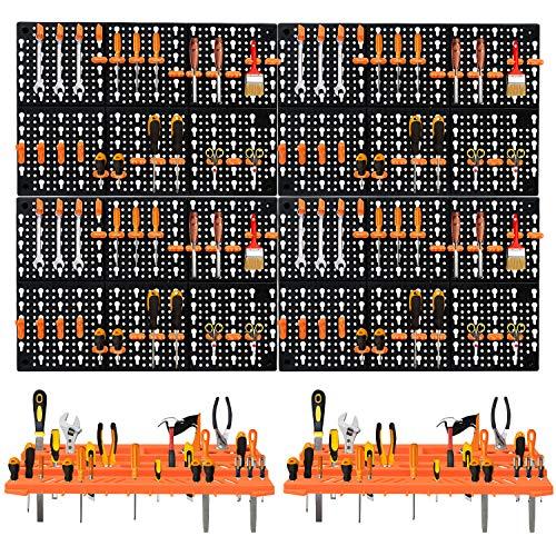Froadp Werkzeugwände Werkzeuglochwand Wandregal mit 50 Gemischten Haken Stecktafel Werkzeugregal Werkbank Schüttenregal für Werkstatt(Type C, 100x66cm)