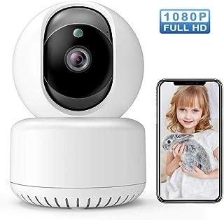 Camara Vigilancia WiFi Interior 1080P HD con Visión Nocturna Detección de Movimiento Cámara de MascotaAudio de 2 Vías Monitor para Bebe/Perros Compatible con iOS Android