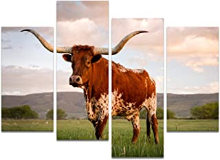 Visual Art Decor Large 4 Pieces Animals Canvas Wall Art Texas Longhorn in Sunset Farm Picture Prints Framed and Stretched Painting for Modern Home Living Bed Room Decoration (L-48 x H-32 Total)