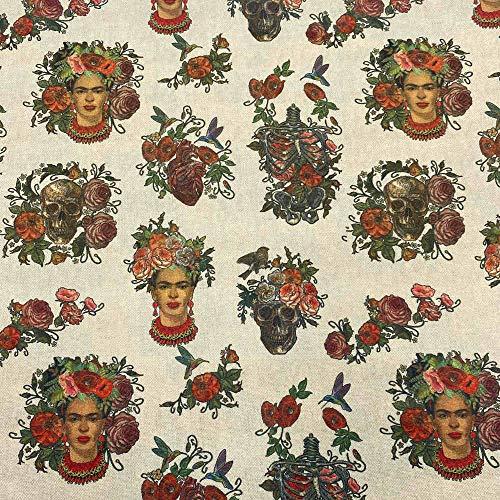 Kt KILOtela Tela de loneta Estampada Digital - Half Panamá 100% algodón - Retal de 100 cm Largo x 140 cm Ancho | Frida Kahlo, Calaveras - Multicolor ─ 1 Metro