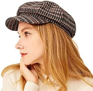 kekolin Womens Newsboy Cap Visor Plaid Beret Octagonal Cap for Ladies (Coffee)