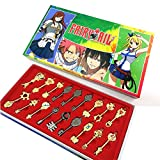 Yancos Fairy Tail Lucy Keys Golden Zodiac Keychain Necklace Pendant Set of 18