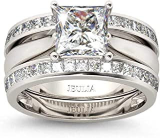 Jeulia 4.37 Carat Engraved Pricess Cut Cubic Zirconia Engagement Ring Diamond Wedding Bands for Women CZ Solitaire Sterling Silver Anniversary Bridal Promise Rings Set