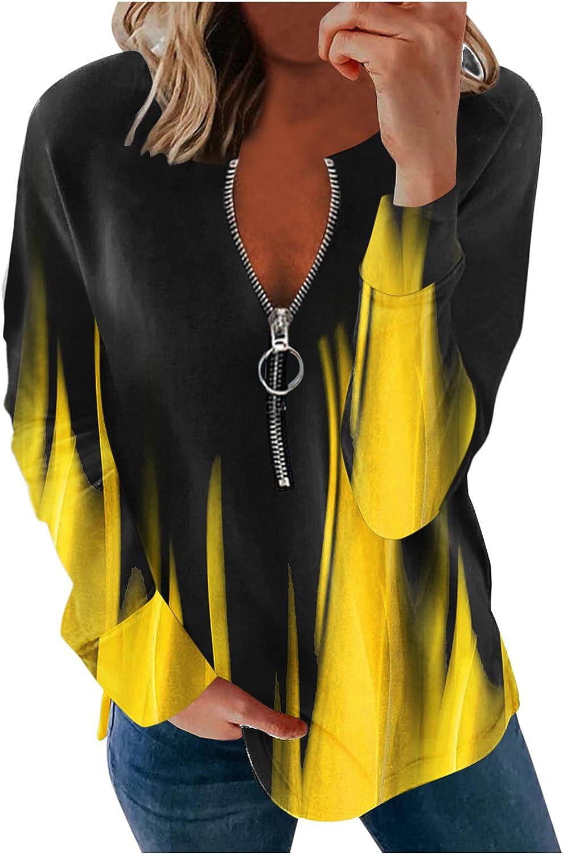 MASZONE Women Causal 1/4 Zip Pullover Long Sleeve Collar Sweatshirts Solid Activewear Running Jacket Gradient Tops