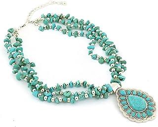 Jianxi Vintage Alloy Synthetic Turquoise Necklace Fashion...