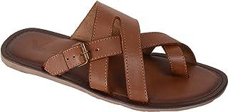 VONZO Men Tan Stylish Slip On Sandal Chappal