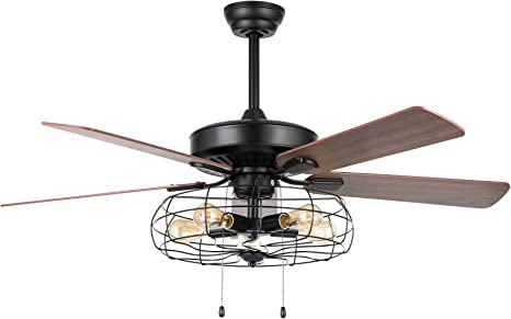 Amazon Com Vonluce 52 Industrial Ceiling Fan With Lights 5 Light Farmhouse Ceiling Fan Rustic With Cage Shade 5 Cherry And Walnut Blades Black Cage Ceiling Fan Light Fixture For Kitchen Living