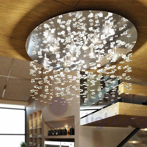 Deckenleuchte Deckenlampe rund Ø60Design Modern 8-flammig Stahl chrom glänzend Ohrhänger Kristall Quadrat Wasserfall Flar PL60Sophie Lighting